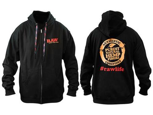 RAW Black Zipper Hoodie w/ Poker Strings