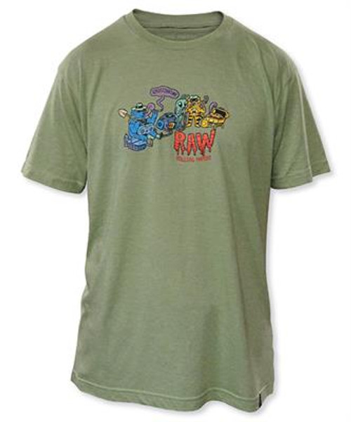 Green mens t-shirt with RAW graphic by artist Ghostshrimp