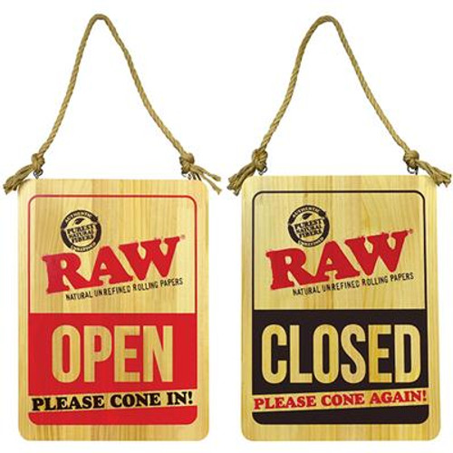 RAW Wood Sign Open Please Come In