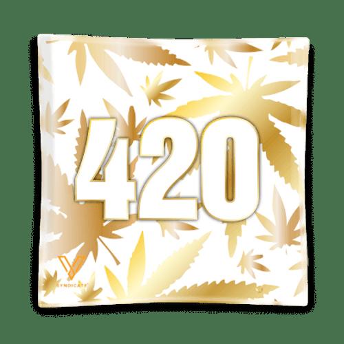 "V Syndicate 420 Gold Glass Ashtray 4.5""x4.5"""