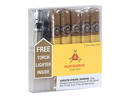 Montecristo Cigar Classic With Torch Lighter 5 Ct. Box