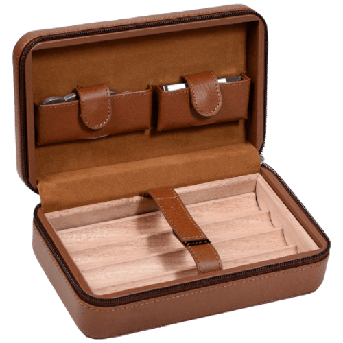 Tommy Bahama Luxury Leather Overnighter Cigar Case Brown