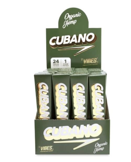 Vibes  Cubano King Size Organic Hemp Cone Display 24ct