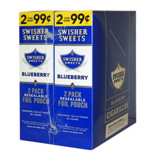 Swisher Sweets Cigarillos Foil Blueberry 30 Pouches of 2