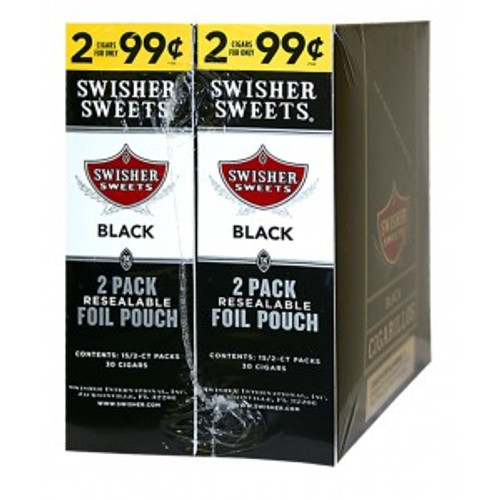 Swisher Sweets Cigarillos Foil Black 30 Pouches of 2