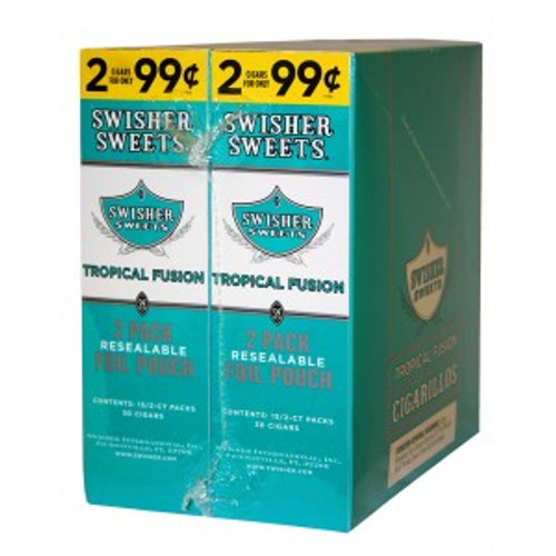 Swisher Sweets Cigarillos Foil Tropical Fusion 30 Pouches of 2