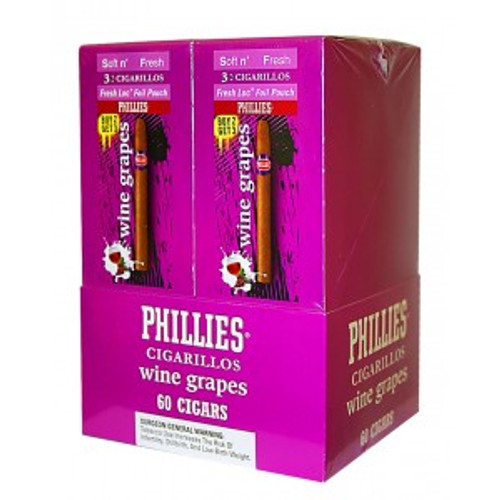 Phillies Cigarillos Wine Grapes FoilFresh 20 Pouches of 3