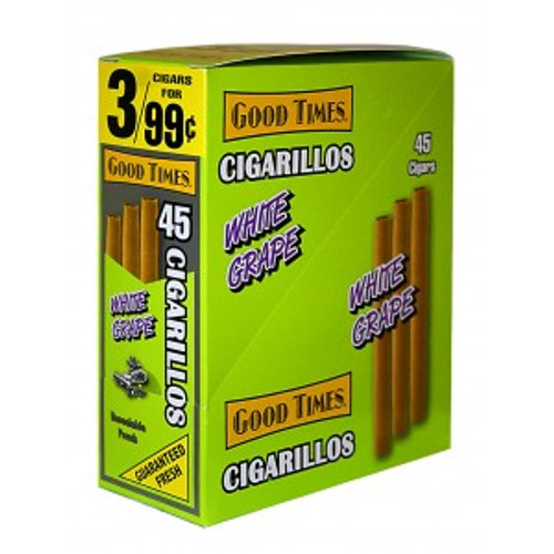 Good Times Cigarillos White Grape Pouch 15 Pouches of 3