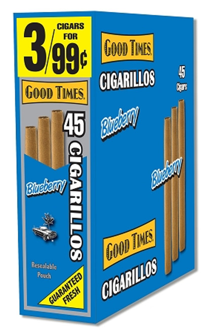 Good Times Cigarillos Blueberry Pouch 15 Pouches of 3