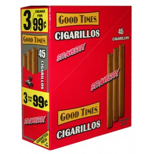 Good Times Cigarillos Strawberry Pouch 15 Pouches of 3