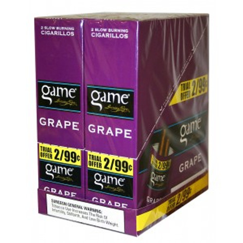 Game Cigarillos Foil Grape 30 Pouches of 2
