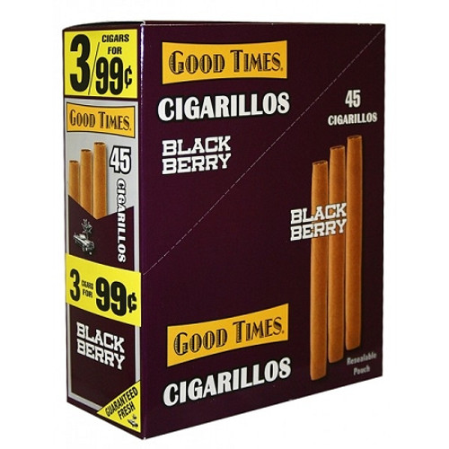 Good Times Cigarillos Black Berry Pouch 15 Pouches of 3