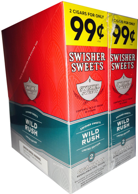 Swisher Sweets Cigarillos Foil Wild Rush 30 Pouches of 2