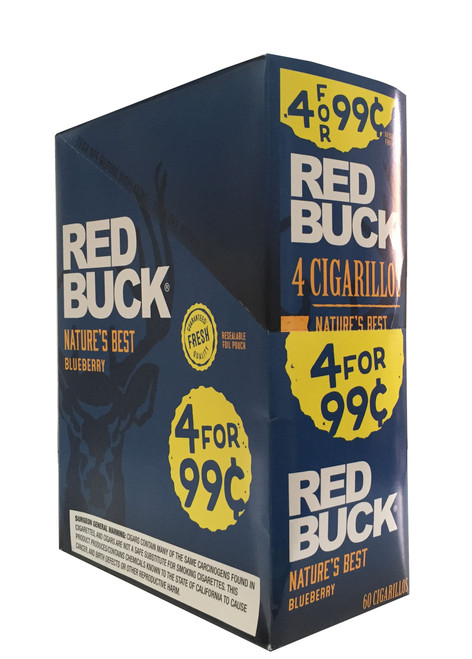 Red Buck Cigarillos Foil Blueberry 4 for 0.99