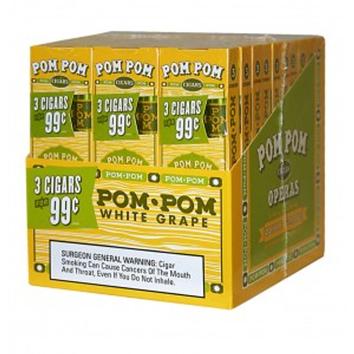 Pom Pom Foil Cigarillos White Grape Pack 30/3