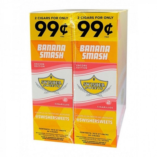 Swisher Sweets Cigarillos Foil Banana Smash 30 Pouches of 2