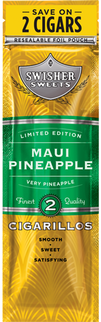 Swisher Sweets Cigarillos Foil Maui Pineapple 30 Pouches of 2