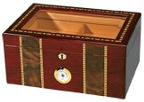 Pompeii - 100 Cigar Glasstop High Gloss Inlay Humidor