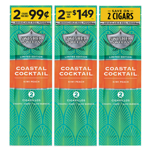 Swisher Sweets Cigarillos Foil Coastal Cocktail 30 Pouches of 2