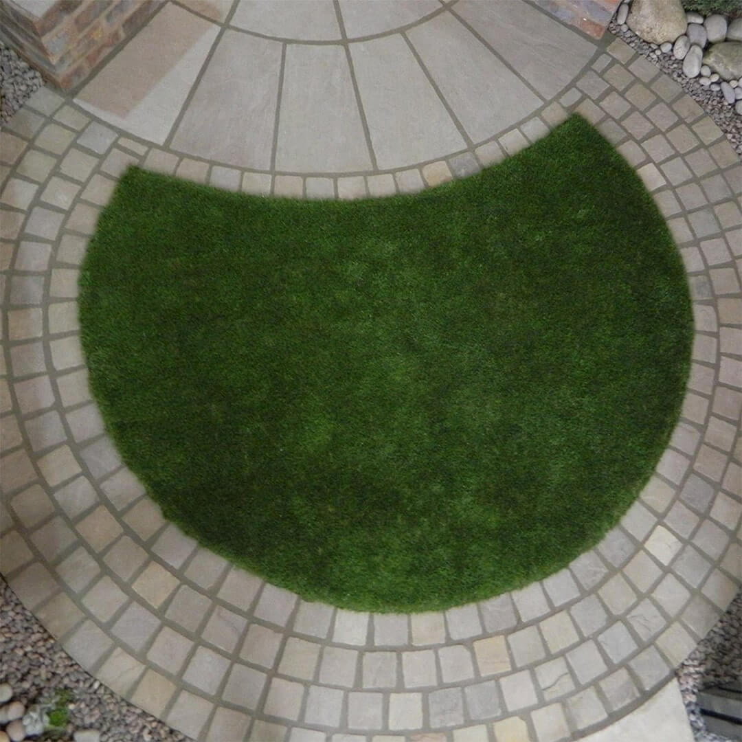 Indian sandstone setts, Avon artificial grass