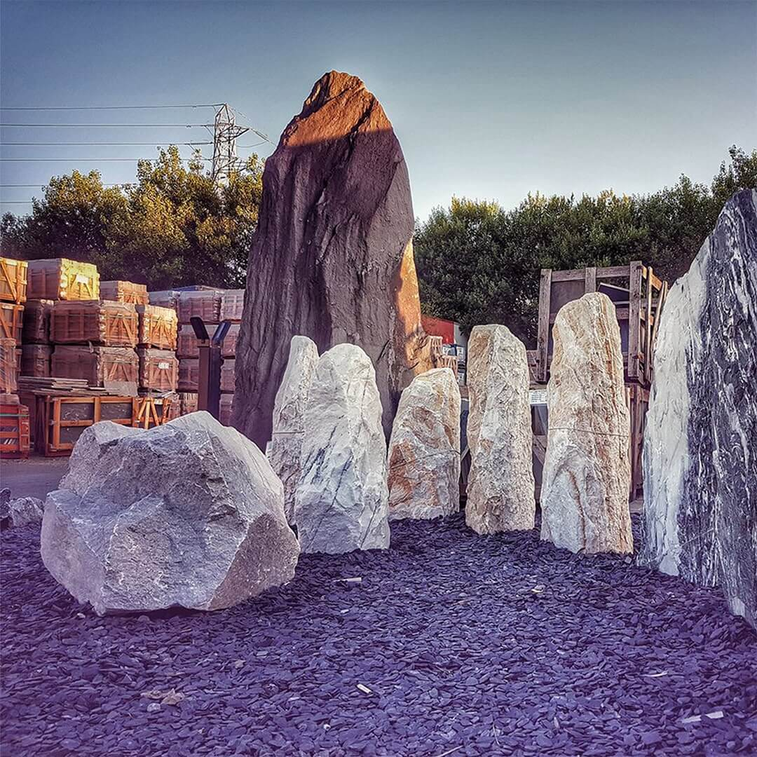 Marble standing stones, blue slate chippings