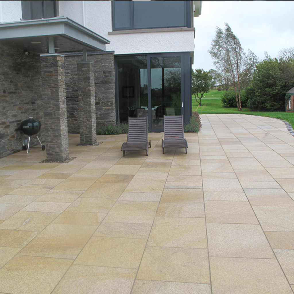 Yellow Granite Paving In situ3