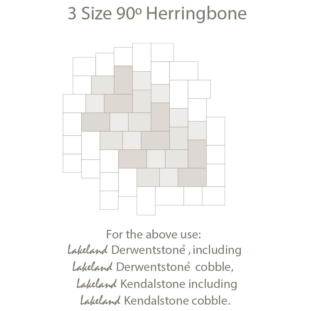 3 Size 90 Herringbone Laying Pattern - Three Sized Block Paving
