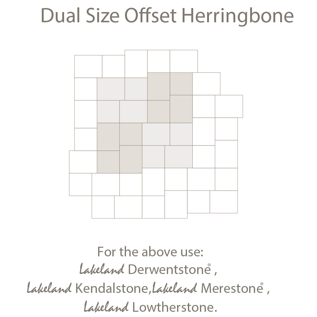 Dual Size Off Setherring Bone Laying Pattern - Duel Sized Block Paving