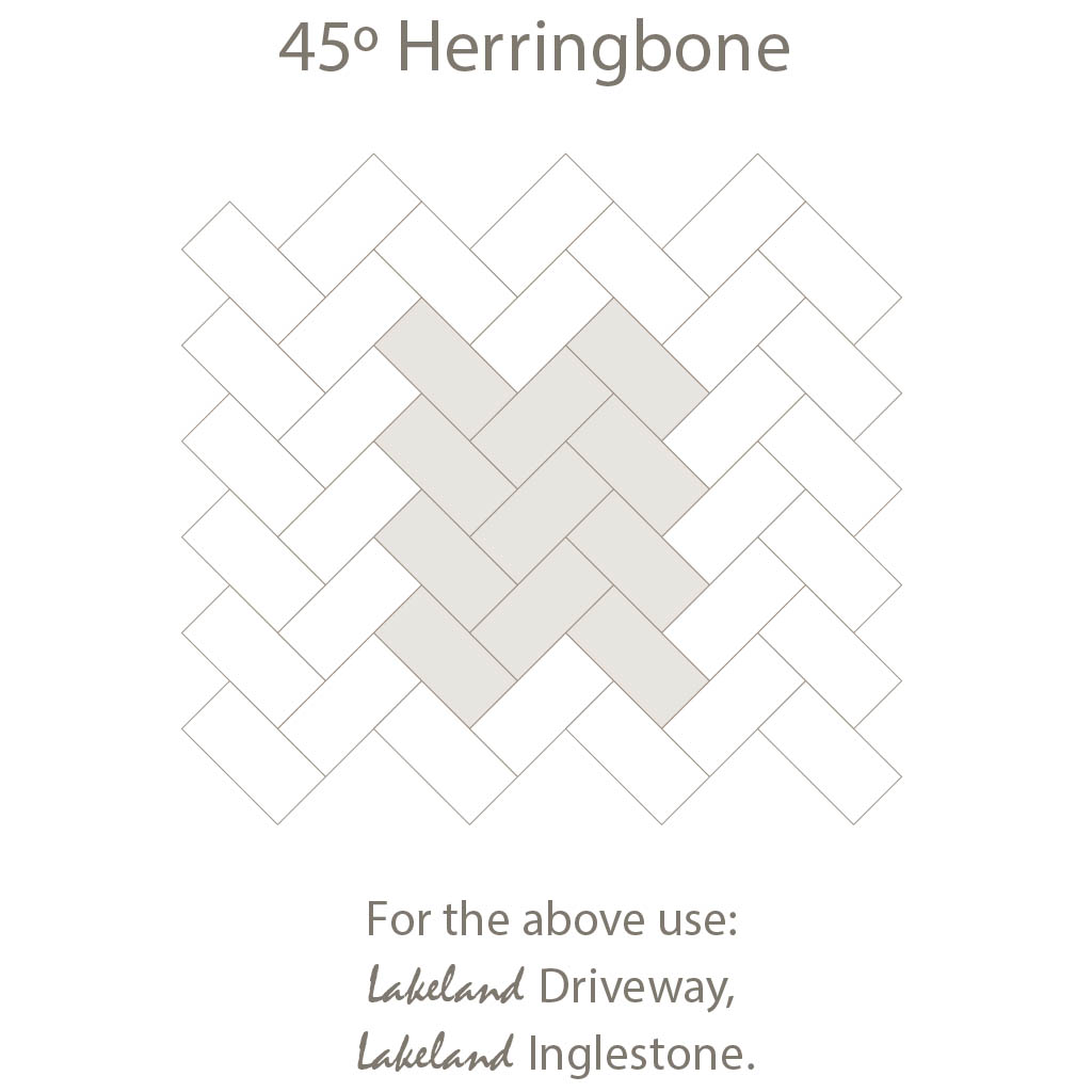 Herring Bone 45 Laying Pattern - Single Sized Block Paving