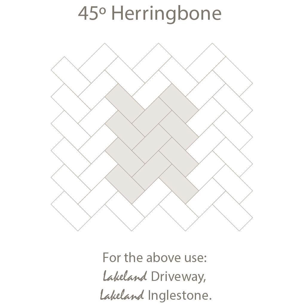Herring Bone 45 Laying Pattern - Single Sized Block Paving