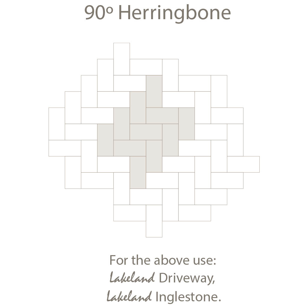 Herring Bone 90 Laying Pattern - Single Sized Block Paving