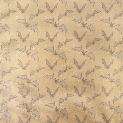 Bats On Orange  - Patterned Cross Stitch Fabric