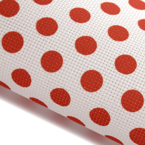 Red Polka Dots - Patterned Cross Stitch Fabric