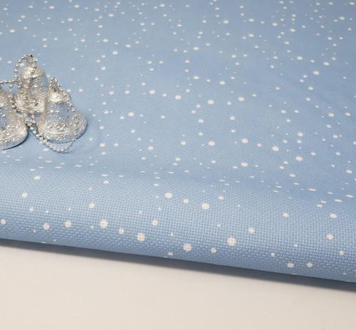 Snow on Blue   - Patterned Cross Stitch Fabric