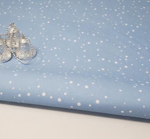 Snow on Blue Cross Stitch Fabric