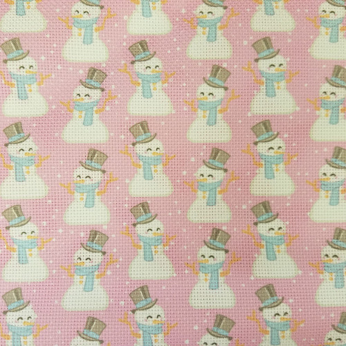 Snowmen on Pink -  Patterned Cross Stitch Fabric