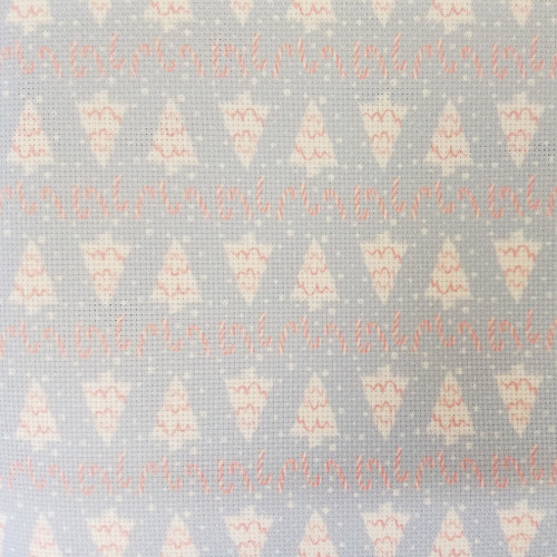 Christmas Trees & Peppermint  - Patterned Cross Stitch Fabric