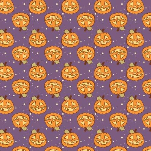 Pumpkins on Purple Cross Stitch Fabric