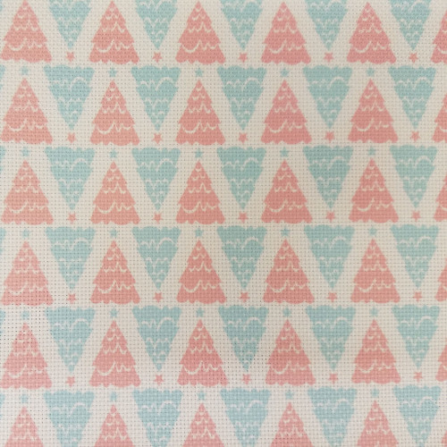 Red & Blue Christmas Trees    - Patterned Cross Stitch Fabric