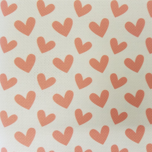 Red Hearts - Patterned Cross Stitch Fabric