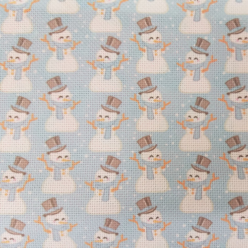 Snowmen on Blue  - Patterned Cross Stitch Fabric