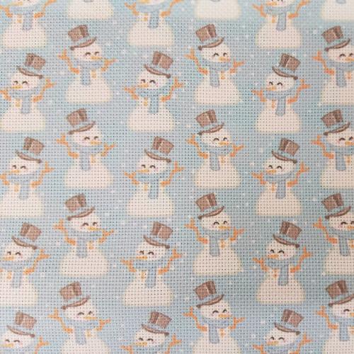 Snowmen on Blue  - Patterned Cross Stitch Fabric