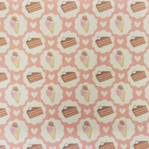 Sweet Things On Pink - Patterned Cross Stitch Fabric