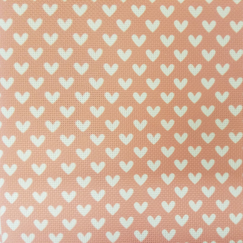 White Hearts on Red  - Patterned Cross Stitch Fabric