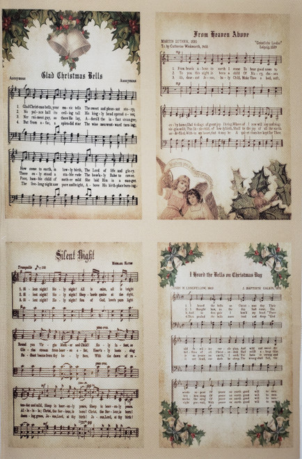 Vintage Christmas Carols  - Patterned Cross Stitch Fabric