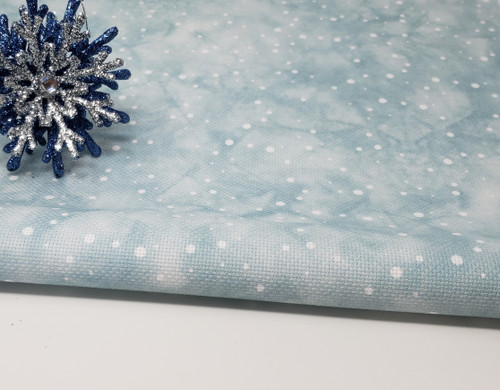 White Snowflakes w/Aqua Dyed Effect  - Patterned Cross Stitch Fabric