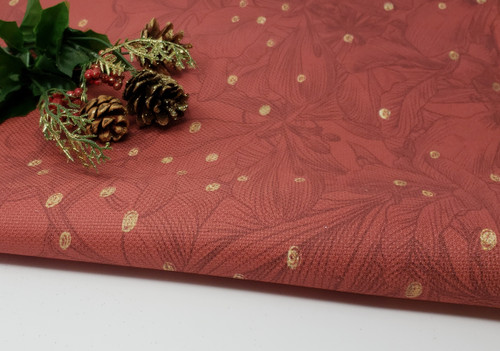 Red & Gold Christmas floral  - Patterned Cross Stitch Fabric
