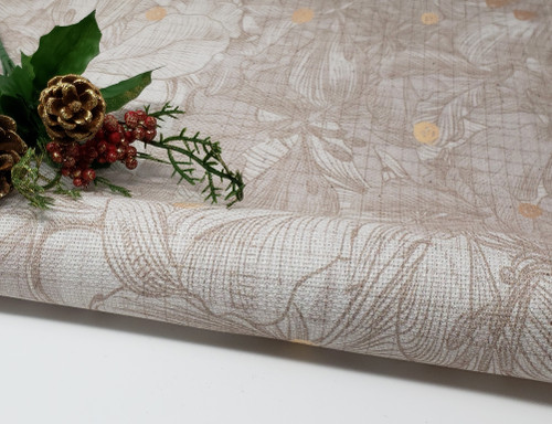 Tan & Copper Christmas Floral - Patterned Cross Stitch Fabric