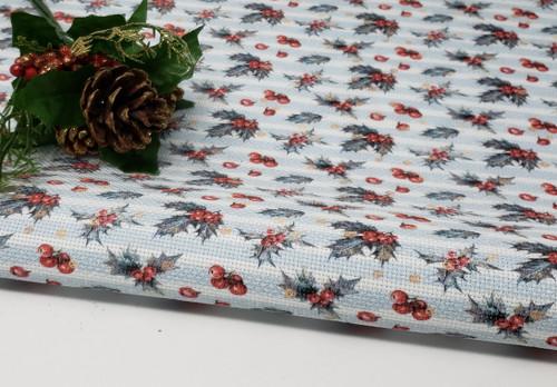 Christmas Holly on Blue Stripes Cross Stitch Fabric
