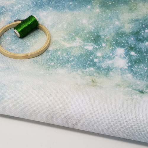 Green Galaxy cross-stitch fabric